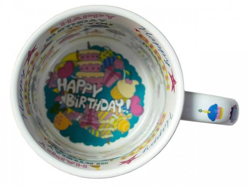 """Happy Birthday"" Кружка белая с принтом внутри"