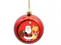 Новогодний стеклянный шар с металлической вставкой красный