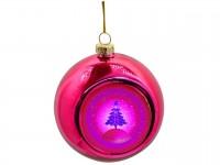 Новогодний стеклянный шар с металлической вставкой розовый