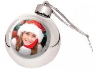 Новогодний стеклянный шар с металлической вставкой серебро