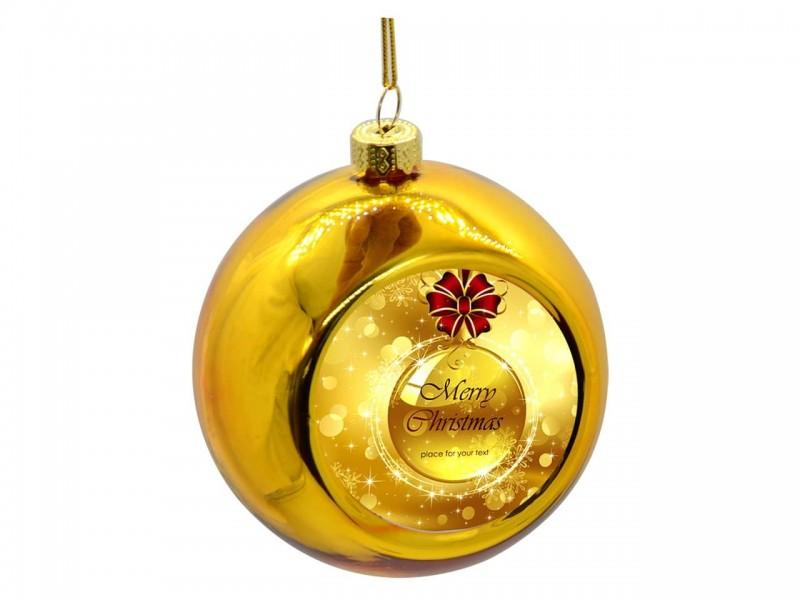 Новогодний стеклянный шар с металлической вставкой золотой