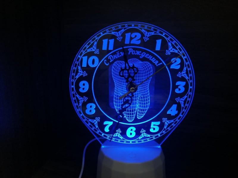 """Ночник часы """"Для зубного врача"""" на светодиодной подставке"""