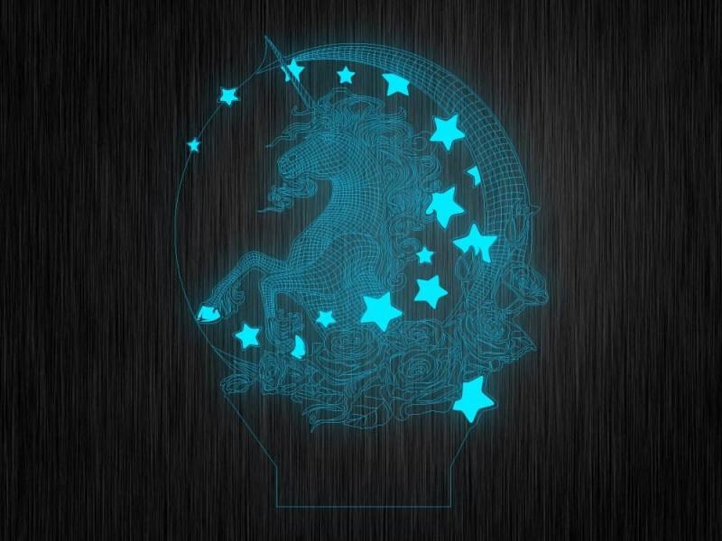 """Ночник """"Единорог со звездами"""" арт. 1363 на светодиодной подставке"""