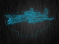 """Ночник """"Самолет с турбинами"""" арт. 0098 на светодиодной подставке"""