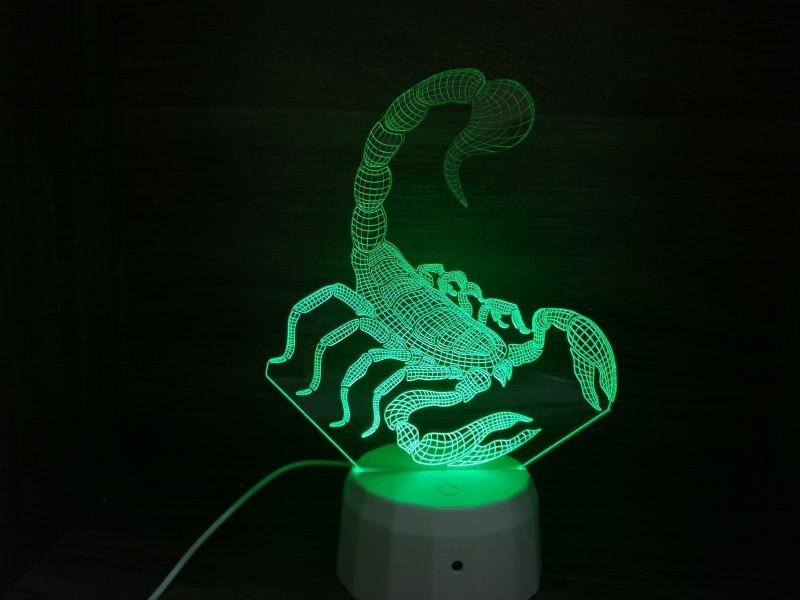 """Ночник """"Скорпион 3D арт. 0956"""" из акрила на светодиодной подставке"""