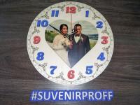Часы круглые с объемными цифрами с фотопечатью из фанеры, 29 см