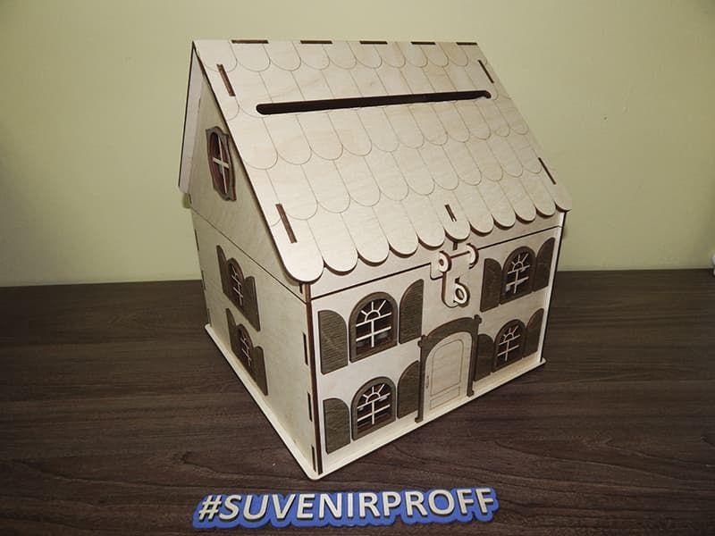 Деревянный домик на свадьбу с открывающей крышей из фанеры 4 мм на шарнирах