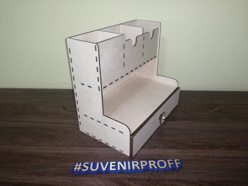 Деревянный органайзер с выдвижным ящиком, 15*25*23 см