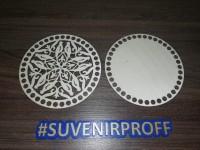 Комплект из донышка и крышки с узором круглые для вязания из фанеры-1