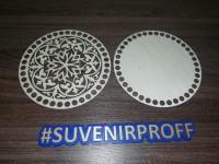 Комплект из донышка и крышки с узором круглые для вязания из фанеры