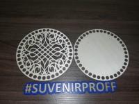 Комплект из донышка и крышки с узором круглые для вязания из фанеры-3