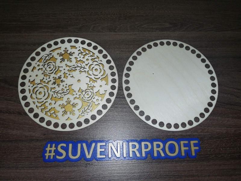Комплект из донышка и крышки с узором круглые для вязания из фанеры-4