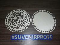 Комплект из донышка и крышки с узором круглые для вязания из фанеры-5