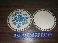 Комплект из донышка и крышки с узором круглые для вязания из фанеры-6