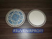 Комплект из донышка и крышки с узором круглые для вязания из фанеры-7