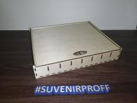 Коробка с выдвигающей крышкой с отсеками из фанеры, 25*30*6 см