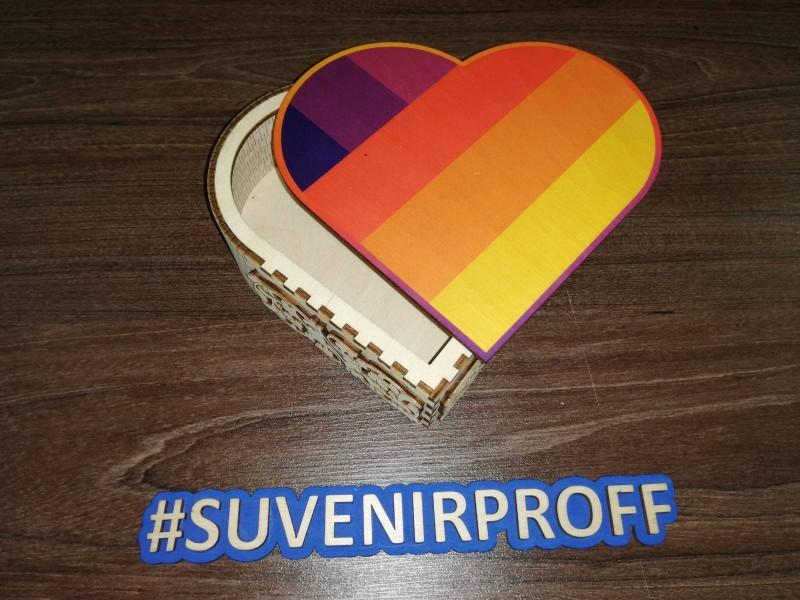 Коробочка в виде сердца из фанеры 3 мм с фотопечатью-2