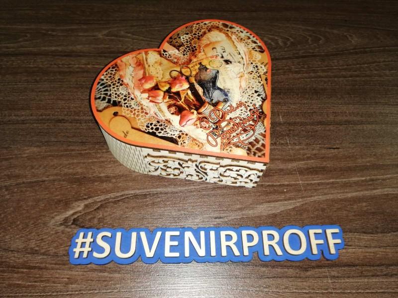 Коробочка в виде сердца из фанеры 3 мм с фотопечатью-3