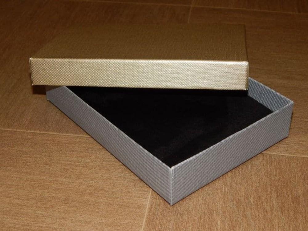 Подарочная упаковка серебро-золото с тиснением лен прямоугольная 12*16*3 см