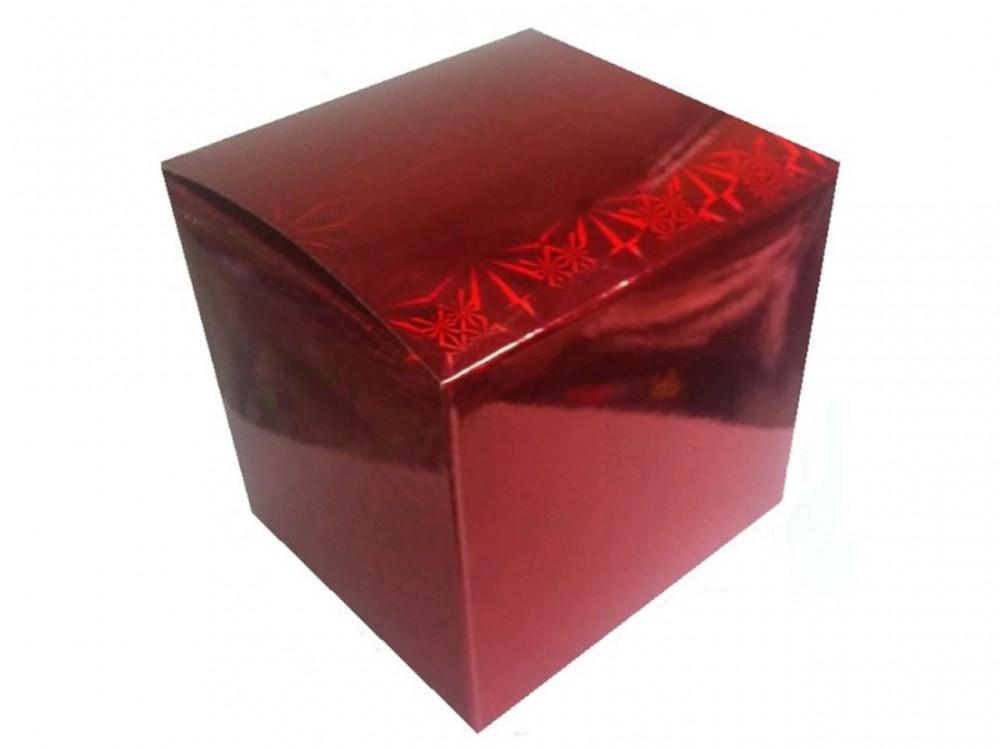 Коробка для кружки голографическая красная