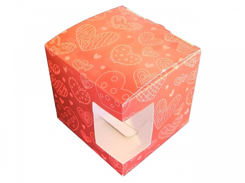 "Коробка для кружки с окном ""Сердечки"""