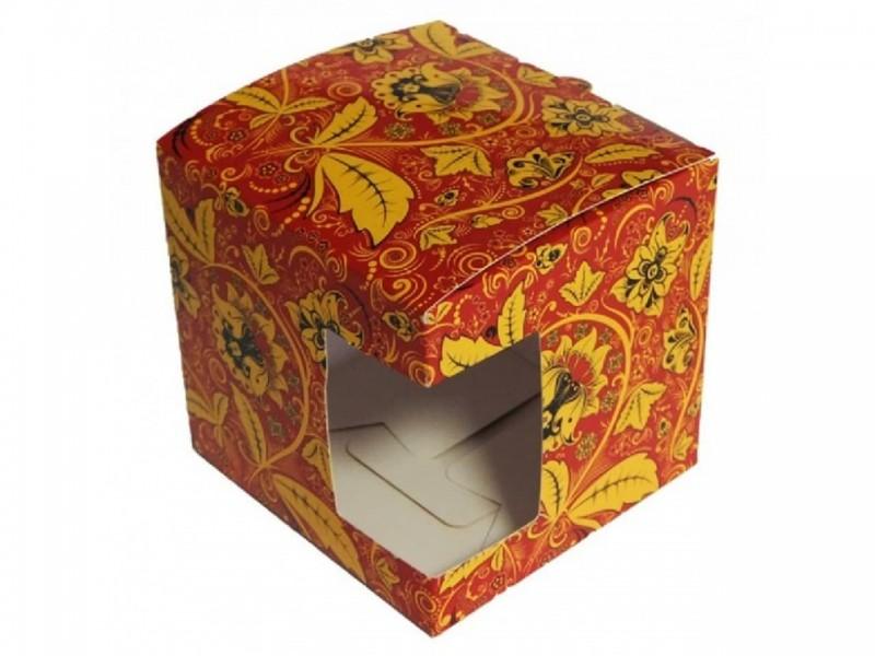 """Коробка для кружки с окном """"Хохлома"""""""